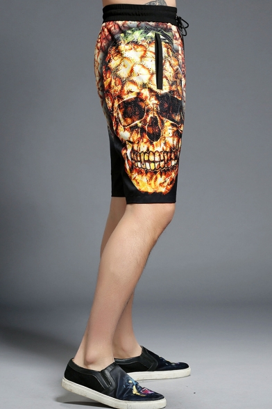 Summer Unique Skull Printed Drawstring Waist Cotton Loose Black Sport Shorts for Men