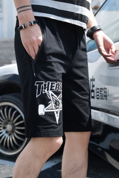 Trendy Letter Sheep Printed Drawstring-Waist Zip Pockets Mens Cotton Outdoors Sport Sweat Shorts