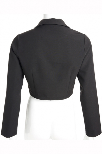 Women's Fashion Long Sleeve Notched Lapel Collar Buckle Front Black Cropped Blazer