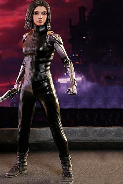 Alita Battle Angel Cosplay Costume long Sleeve Ruched Details Skinny Jumpsuit