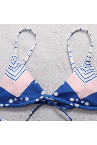 Color Block Striped Polka Dot Print Spaghetti Straps Sleeveless Bikini