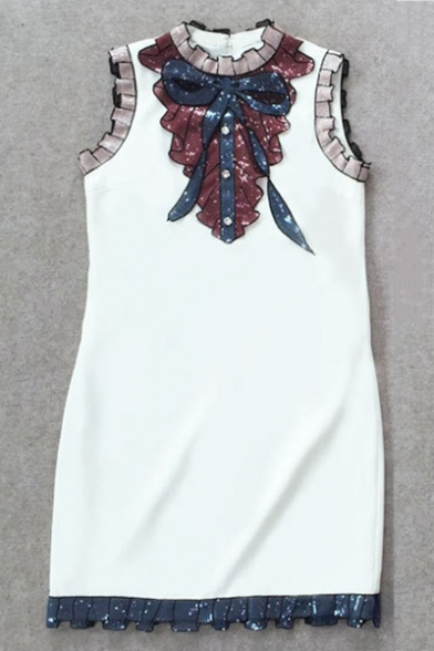 Fashion Sequin Embroidered Sleeveless Bow Buttons Patched Mini Sheath Dress