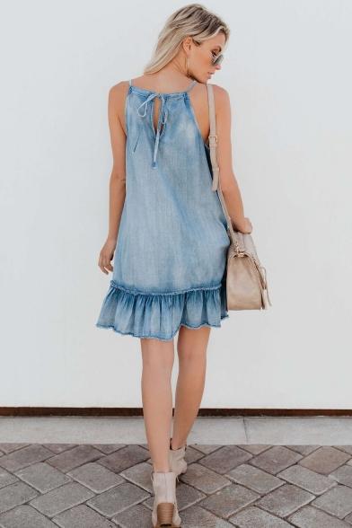 Fashionable Halter Sleeveless Ruffle Hem Light Blue Mini A-line Denim Dress