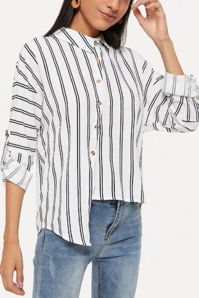 Fashionable Irregular Stripes Print Design Offset Button Closure White Shirt