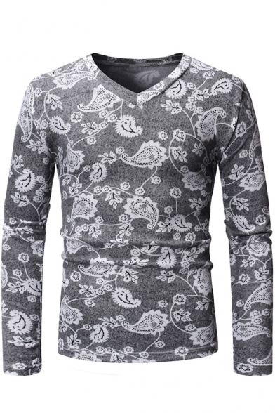 Guys Hip Hop Style Floral Printed Long Sleeve Men's Fitted V-Neck T-Shirt