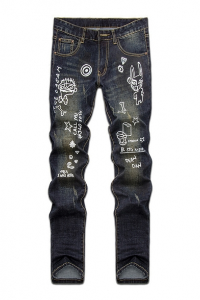 4f147d0457 Guys New Trendy Letter Cartoon Printed Blue Straight Fit Jeans -  Beautifulhalo.com
