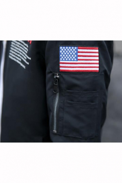 Guys Popular NASA Logo Letter Flag Applique Stand-Collar Zip Closure Baseball Jacket