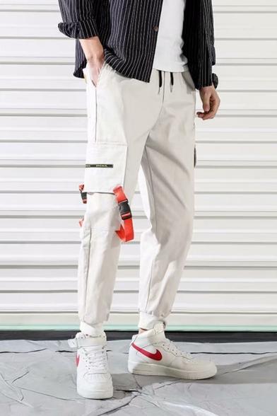Guys Street Fashion Drawstring Waist Unique Buckle Ribbon Embellished Casual Loose Cargo Pants