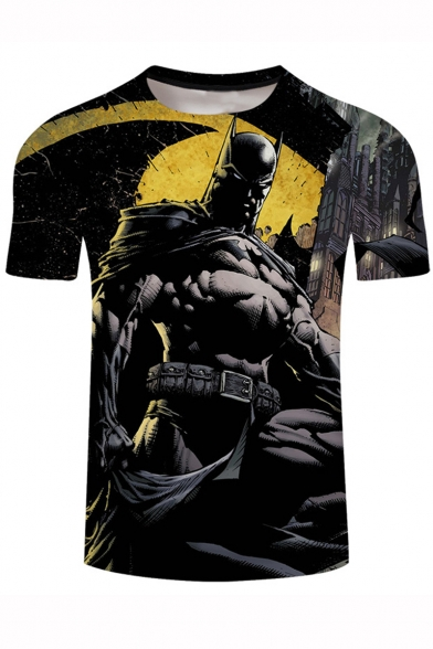 Hot Popular Cool 3D Character Print Short Sleeve Black T-Shirt