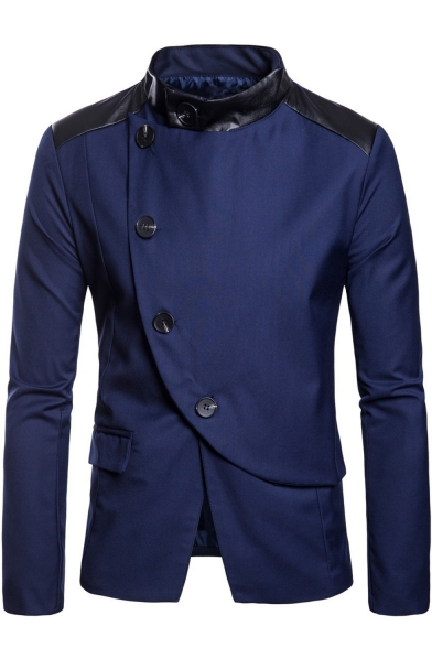 Men's Asymmetrical Button Front PU Patched Long Sleeve Stand Collar Suit Blazer Jacket