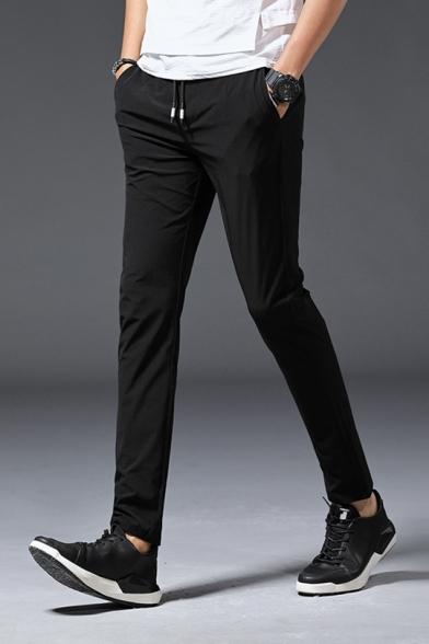 Vai su novità Eloquente  Men's Fashion Solid Color Drawstring Waist Leisure Slim Fit Tailored  Trousers - Beautifulhalo.com