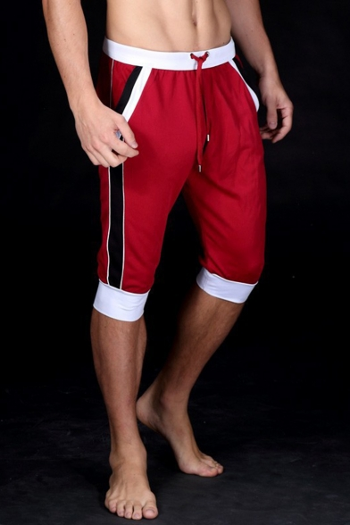 Men's New Trendy Drawstring Waist Fashion Color Block Striped Side Casual Sport Sweat Shorts