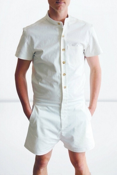 Men's Simple Plain Stand Collar Short Sleeve Button-Down Casual Leisure Rompers