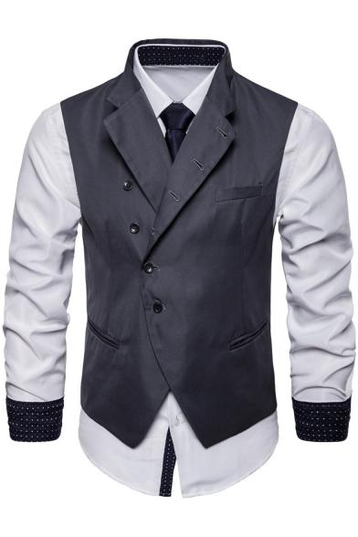 Men's Stylish Plain Button Front Notched Lapel Belt Back Suit Vest