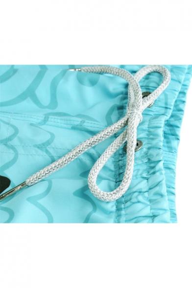 Mens Lovely 3D Glasses Cat Heart Printed Drawstring Waist Fast Drying Blue Shorts Swim Trunks