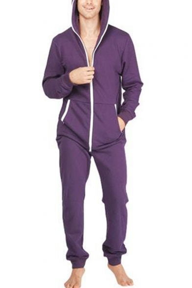 distinctive design exceptional range of styles outlet sale Mens New Stylish Long Sleeve Hooded Zip Up One Piece Sleepwear Lounge