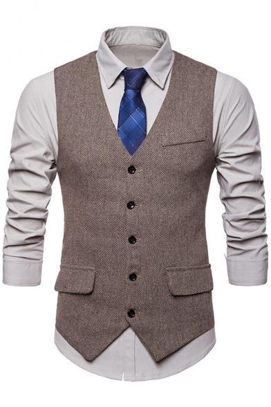 Mens Stylish Buckle Back Button Down Flap-Pockets Slim-Fit Waistcoat