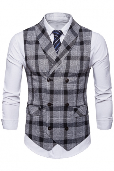 New Stylish Plaid Pattern Buckle Back Double Breasted Casual Suit Vest for Men