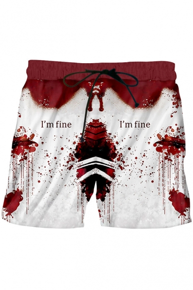 Stylish Blood Letter I'M FINE Drawstring-Waist Sport Loose Red Swim Shorts for Men