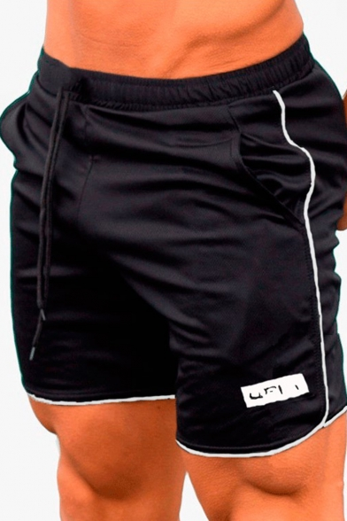 Stylish Logo Print Summer Drawstring Waist Sport Casual Quick-Dry Athletic Shorts for Guys