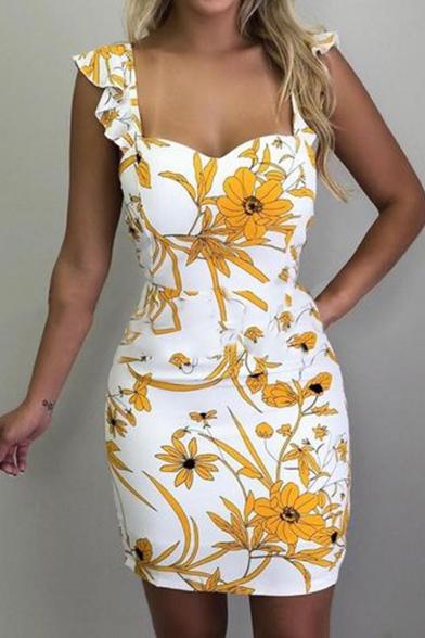 Summer Fashionable Sleeveless Floral Printed Mini Bodycon Dress