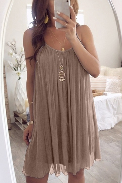 Summer New Fashion Solid Color Spaghetti Straps Chiffon Midi Pleated Dress