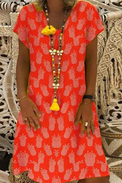 Summer New Trendy Pineapple Printed V-Neck Short Sleeve Casual Midi A-Line Dress