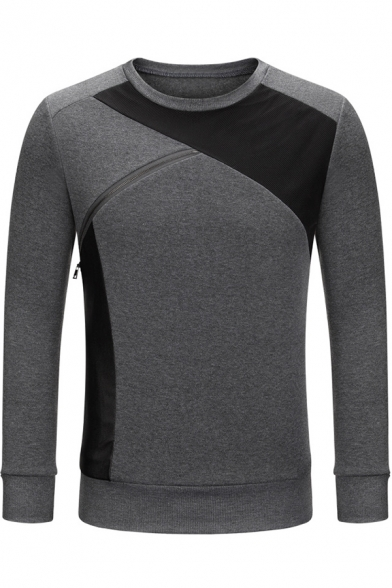 Unique Fashion Zip Patchwork Crewneck Long Sleeve Fitted Pullover Sweatshirt for Men