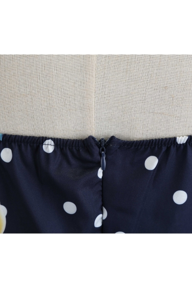 Vintage Polka-Dot Lemon Print Halter Neck Navy Midi A-Line Flared Dress