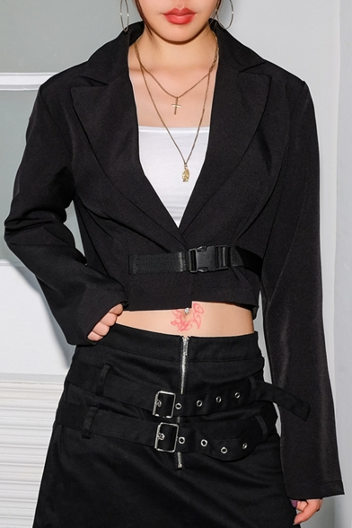 Купить со скидкой Women's Fashion Long Sleeve Notched Lapel Collar Buckle Front Black Cropped Blazer