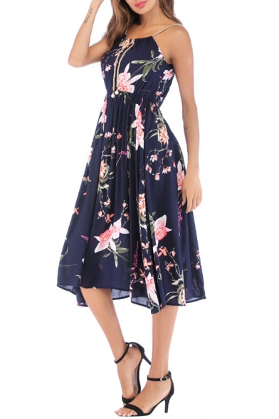Womens Fashion Straps Navy Floral Printed Midi A-Line Cami Dress