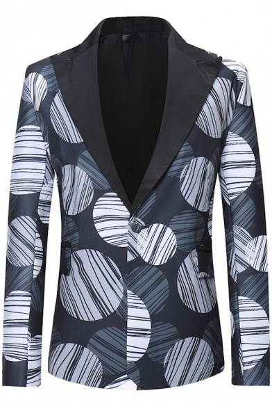 Abstract Circle Print Long Sleeve Peaked Lapel Single Button Navy Mens Tuxedo Suit