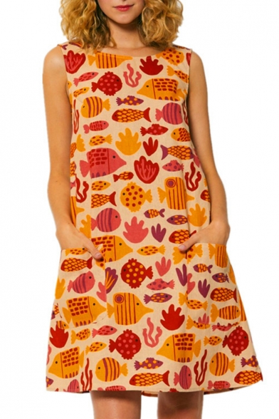 Cartoon Allover Fish Pattern Sleeveless Yellow Mini A-Line Dress with Pockets