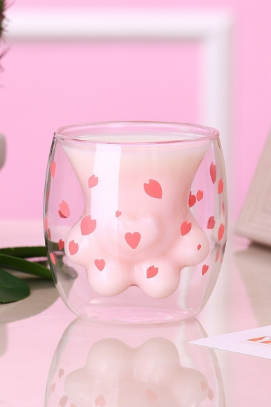 Cute Cartoon Pink Heart-Shaped Cat Paw Double-Decker Glass Mug Cup for Gift