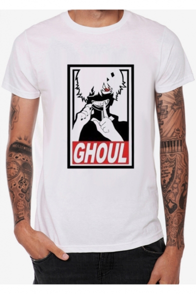 GHOUL Comic Figure Letter Printed Round Neck Short Sleeve White T-Shirt