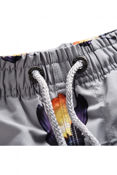 Guys Stylish Allover Ant Letter Printed Drawstring-Waist Grey Loose Fit Beach Swim Shorts