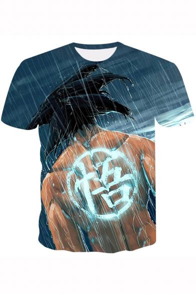 Hot Popular Comic Anime Character Printed Short Sleeve Blue T-Shirt