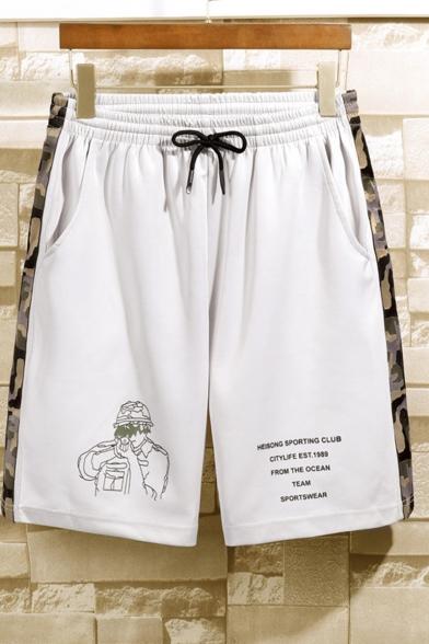 Mens Fashion Camo Figure Letter Printed Drawstring Waist Quick Dry Beach Casual Shorts
