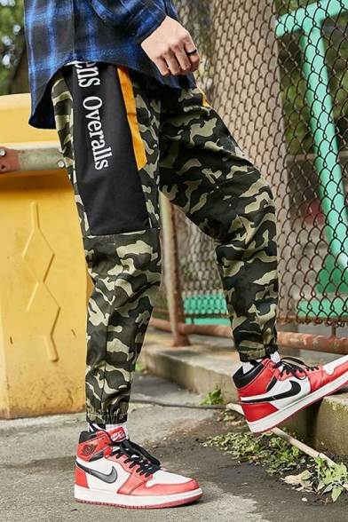 Mens Fashion Green Camouflage Printed Drawstring Waist Cotton Outdoor Sport Cargo Pants