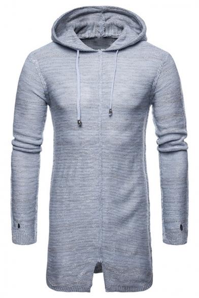 Mens New Stylish Plain Drawstring Hooded Slim Fit Longline Marled Knit Sweater