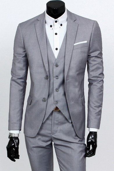 Mens Notched Lapel Single Breasted Long Sleeve Business Casual Wedding Three-Piece Suit for Groom