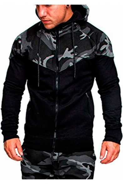 Mens Outdoor Fashion Camo Colorblock Sport Casual Slim Fit Zip Up Drawstring Hoodie