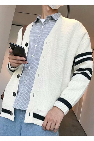 New Popular Stripe Print Long Sleeve Guys V-Neck Button Down Casual Cardigan