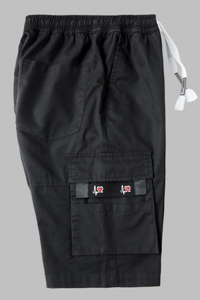 New Stylish Classic Flap Pockets Side Patched Drawstring Waist Mens Cotton Loose Cargo Shorts