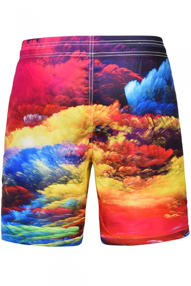 New Trendy Colorful Cloud 3D Printing Drawstring Waist Mens Quick-Dry Casual Loose Beach Shorts