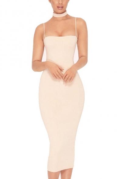 Nightclub Sexy Plain Spaghetti Straps Sleeveless Midi Bodycon Dress