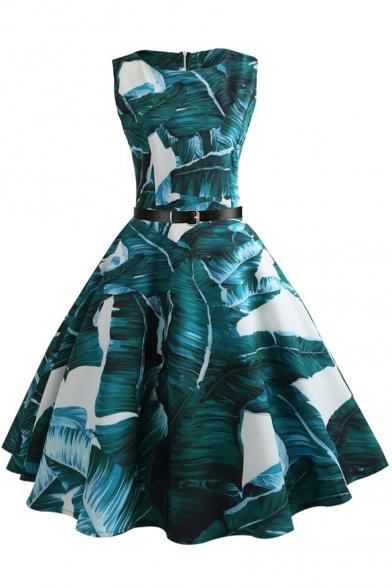 Retro Tropical Printed Sleeveless Midi A-Line Flared Green Dress with Belt