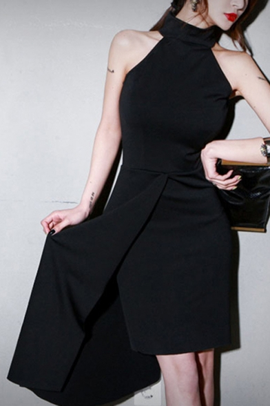 Sexy Black Halter Sleeveless Midi Asymmetric Dress for Party, LC512116