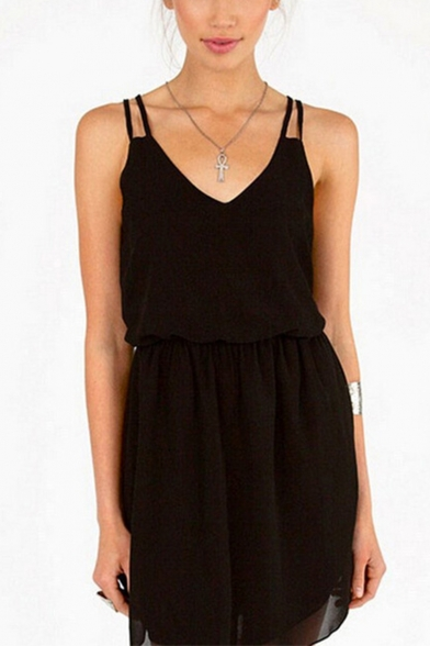 Sexy Simple Plain Spaghetti Straps Chiffon Mini Cami Dress