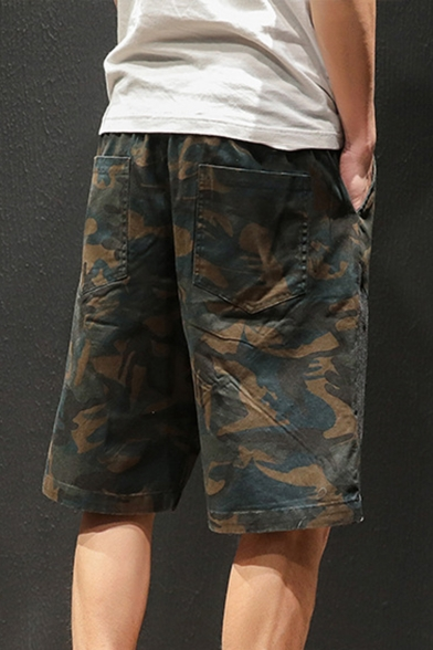 Summer Fashion Cool Camouflage Patched Drawstring-Waist Men's Cotton Loose Fit Shorts